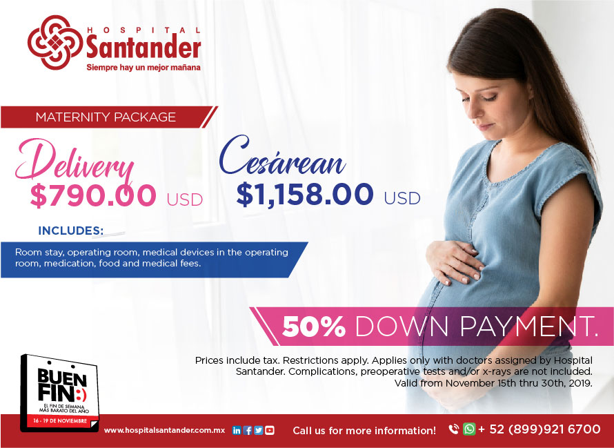50% down payment to get ready to welcome your baby at the best hospital.